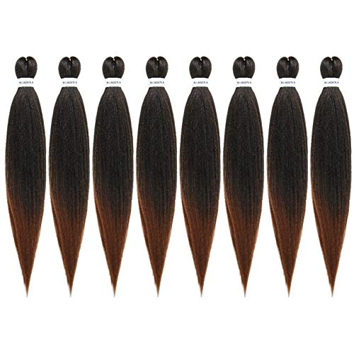 "Pre-Stretched Braiding Hair Omber 26""-8 Packs Long Itch Free Hot Water Setting Synthetic Fiber Crochet Braiding Hair Extension(26"", T30)"