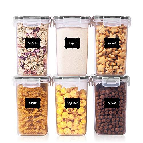 Vtopmart 1.6L Vorratsdosen Set, Müsli Schüttdose & Frischhaltedosen, BPA frei Kunststoff Vorratsdosen luftdicht,Trockenfutterbehälter, Satz mit 6, 24 Etiketten für Getreide, Mehl, Zucker usw (Schwarz)
