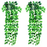 LUCY WEI 2 Pcs Artificial Hanging Plants Artificial Ivy 40 Inch Long Hanging Vine Plants for Wedding Party Garden Home Hanging Basket Decoration
