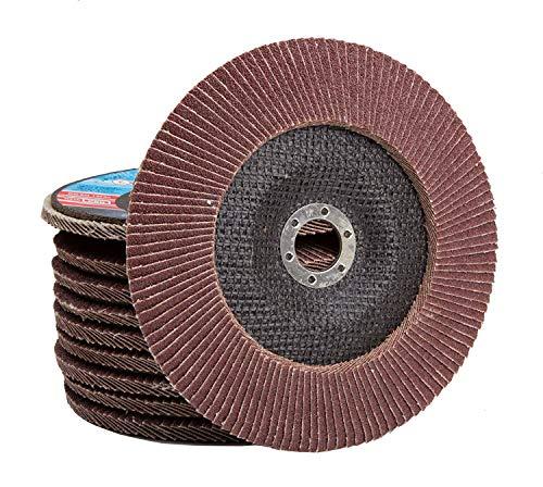 10 Stück Set Falon Tech Fächerscheiben ø 115 x 22.2 mm K60 Braun Schleifscheiben Schleifmop Flap Disk für Winkelschleifer Schleifteller Schleifscheibe Korn P60