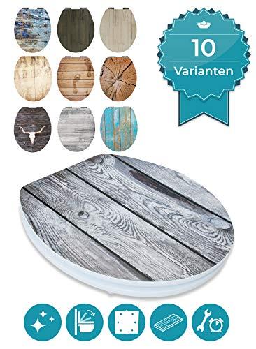 Calmwaters® WC Sitz Holz mit Absenkautomatik Motiv Vintage Zaun, Fast-Fix-Befestigung aus Metall, universale O-Form, stabiler Holzkern Toilettendeckel, Komfort Toilettensitz - 26LP2851