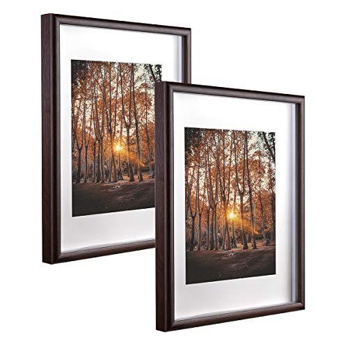 Metrekey 20 x 25 cm Cornice portafoto 3D profonda con vetro da riempire, telaio Hozl con passepartout per 13 x 18 cm, set da 2 cornici per foto da tavolo e da appendere alla parete