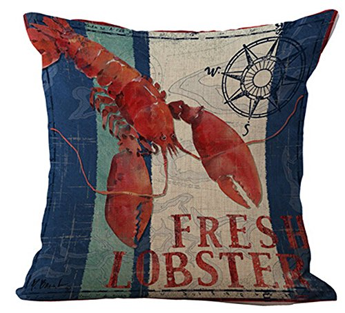 Andreannie Mediterranean Series Crabs and Lobsters Cotton Linen Home Throw Pillow Case Personalized Cushion Cover New Home Office Decorative Square 18 X 18 Inches (Lobster)