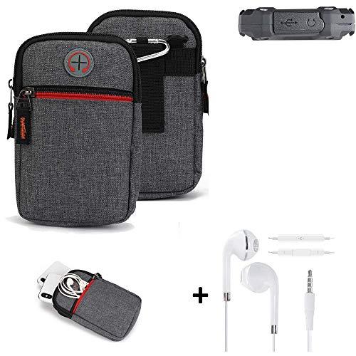 K-S-Trade® Gürtel-Tasche + Kopfhörer Für Simvalley Mobile SPT-210 Handy-Tasche Schutz-hülle Grau Zusatzfächer 1x