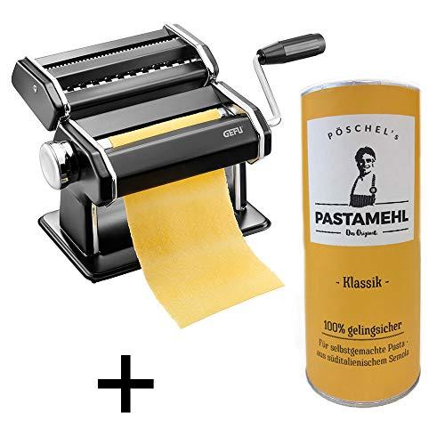 Eslohe Gefu - Pastamaschine Nudelmaschine Pasta PERFETTA schwarz + Pastamehl (Pastamehl Classic)