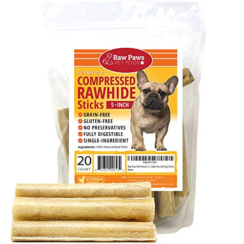 Raw Paws Pet Premium 5-inch Compressed Rawhide Sticks for Dogs, 20-Count - Packed in The USA - Natural Rawhide Dog Chews - Rawhide for Small Dogs & Puppies - Safe Rawhide Rolls