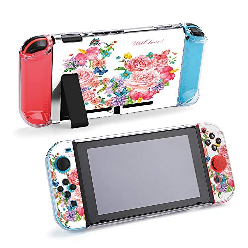 SUPNON Carry Case Compatible with Nintendo Switch, Ultra Slim Hard Shell, Protective Carrying Case for Travel - Lovely Invitation Card with Exotic Flowers Design31574