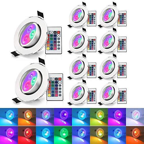 Xjled® Faretti da soffitto, 5 W, luci RGB 10pcs