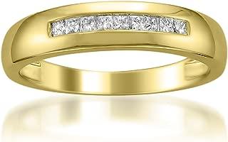 14k Yellow Gold Princess-Cut Diamond Men's Wedding Band Ring (1/4 cttw, I-J, I1-I2)