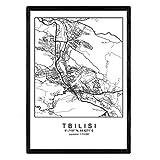Nacnic Blatt Tbilisi Stadtplan nordischen Stil schwarz und weiß. Plakatrahmen A4 Bedruckte Papier Keine 250 gr. Gemälde, Drucke und Poster für Wohnzimmer und Schlafzimmer