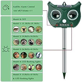 Vivibel Répulsif pour chats - Répulsif solaire pour animaux - USB - Étanche à ultrasons - 5 modes réglables - Pour éloigner les animaux - Pour chats, chats, oiseaux, chiens, escalade rouge