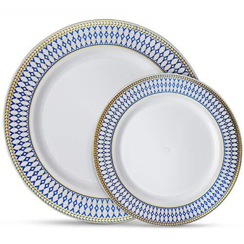 "Laura Stein Designer Dinnerware Set of 64 Premium Plasic Wedding/Party Plates: White, Blue Rim, Gold Accents. Set Includes 32 10.75' Dinner Plates & 32 7.5"" Salad Plates | Midnight Blue"