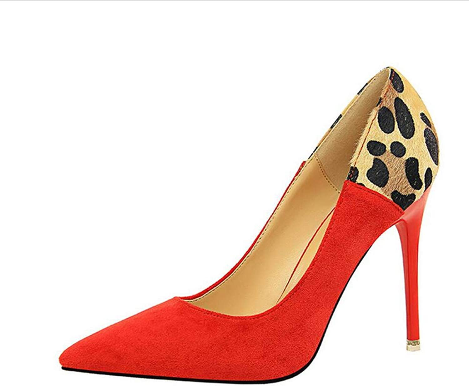 shoes Court shoes Women's shoes High Heel Shallow Mouth European and American Style Fine Heel Pointed Sexy Nightclubs Suede Mixed Haiming (color   Red, Size   6 US)