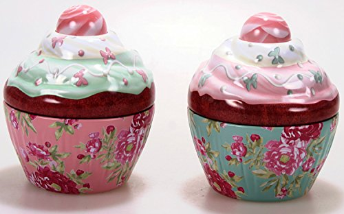 2er Cupcake Flower 8 cm Blechdose Keksdose und Deko Box Retro Cupcake Muffin