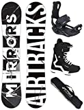 AIRTRACKS Snowboard Set/Board Mirrors Wide 157 + Snowboard Fijaciones Master + Boots Master QL 42 + SB Bag