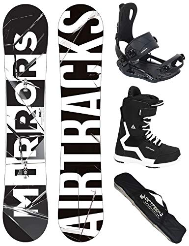 Airtracks Snowboard Set/Board Mirrors Wide 152 + Snowboard Bindung Master + Boots Strong QL 41 + Sb Bag