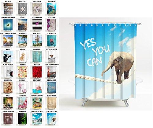 Sanilo Duschvorhang, viele schöne Duschvorhänge zur Auswahl, hochwertige Qualität, inkl. 12 Ringe, wasserdicht, Anti-Schimmel-Effekt (180 x 180 cm, Yes You can)