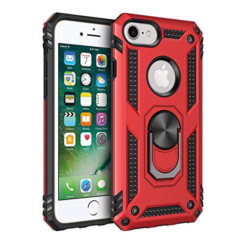 AFARER Compatible with iPhone 6/7/8 Case with Heavy Duty Magnetic Ring Holder, [Drop Tested Military Grade] Protective Cover for iPhone 6/7/8 - Red