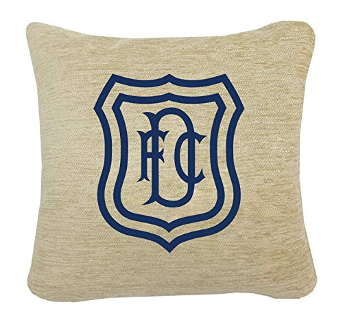 # DUNDEE F.C. BADGE ON A LUXURY CREAM CHENILLE CUSHION.INC PADDING. 45 X 45CM (18 X 18 INCHES)