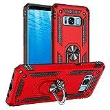 Yiakeng Funda Samsung Galaxy S8 New Edition Carcasa con Protector, Silicona Armor Case con Kickstand para Samsung Galaxy S8 (Rojo)