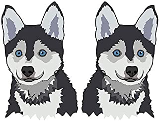 SignMission Pomsky Decal | Indoor/Outdoor | Dog Lover Super Cute Sticker for SUV Windows, Dorm Rooms, Bedroom, Offices Personalized Gift | 2 Pack of 6