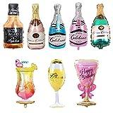 Gxhong Palloncini Champagne,Palloncino in Alluminio,Palloncino Bottiglia Vino,Bicchiere Vi...