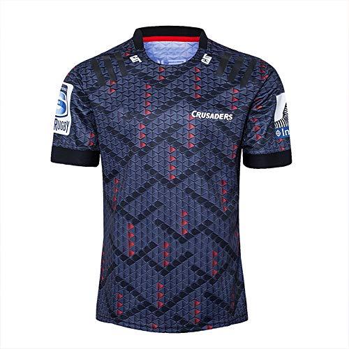 DDZY Jersey de Rugby, 2020 Nueva Zelanda Highlander, hogar/lejos, Deportes de Verano Transpirable Camisa Casual Camiseta de fútbol Camisa de Polo,Negro,XL