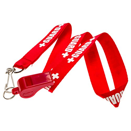 BLARIX Guard Pea Whistle and Lanyard (Red and Red Lanyard w/Print)