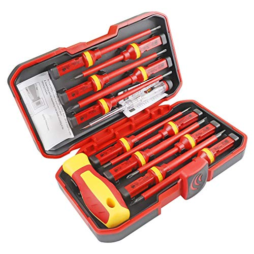 uoboeuq 13-Pieces 1000V Insulated Screwdriver Set CR-V Magnetic Phillips Slotted Pozidriv Torx Screwdriver All-in-One Premium Professional CR-V Magnetic Phillips Slotted Screwdriver