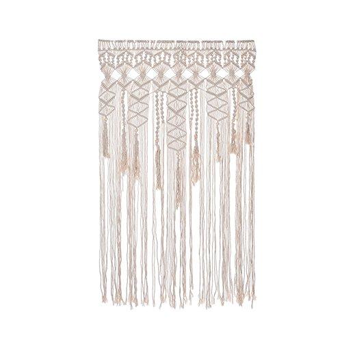 Cortina de puerta tejida a mano, tamaño grande, tocado bohemio de algodón, cortina de punto para colgar en la pared, decoración de boda, fiesta, 90 x 180 cm