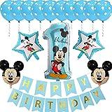 Decoraciones de cumpleaños de Mickey Mouse ZSWQ-Mickey Party Globos Bolas de Nido de Abeja de Mickey Globo de Blue, Banner de Happy Birthday, Globos número para la Fiesta temática de Mickey Mouse