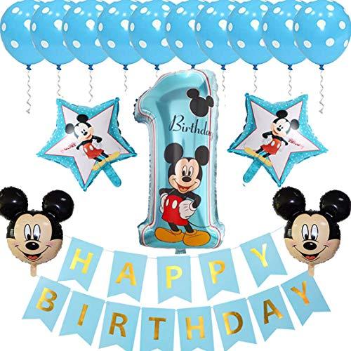 ZSWQ Palloncini Party Mickey Decorazioni di Compleanno di Topolino Blu per Ragazzi Forniture includono Banner, Palloncini con Foglio 1 per Feste Tema di Compleanno Baby Shower Decorazioni