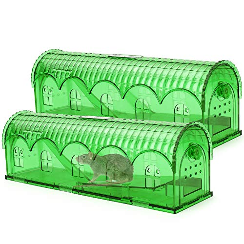 Eletorot Trappola per Topi, Trappola per Topi Esca in Plastica Riutilizzabile, Sicura per Animali Domestici e Bambini per Giardino Cucina Domestica Garage Confezione da 2 (Verde)