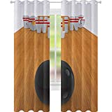 YUAZHOQI Bowling Party Curtains for Living Room Bowling Alley with Skittles and Ball in Position Hobby Print Decor Curtains 52' x 84' Pale Brown Black White