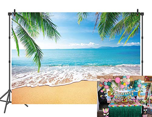 Beach Backdrop Summer Tropical Hawaii Palm Leaves Ocean Island Seaside Scene Photography Background Wedding Bridal Shower Baby Birthday Party Decoration Banner Photo Booth Props 7x5FT