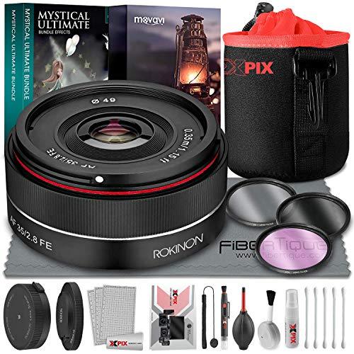 Rokinon AF 35 mm f/2.8 FE Objektiv für Sony E-Mount Kameras mit Lens Station E, Xpix kleine Neopren-Tasche Objektivfilter, Fotobearbeitungssoftware und Deluxe Reinigungszubehör