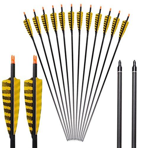 """Toparchery 6er 32"""" Carbonpfeile 4"""" Feder Bogenschießen Fletching austauschbare Pfeilspitzen Jagdpfeile Spine 400 (Pures Carbon) (Farbe der Feder : Gelb)"""