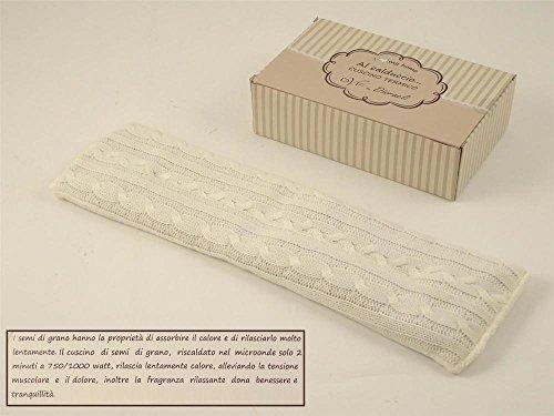Cuscino termico da riscaldare in lana bianca con semi di grano, 45x13x2cm