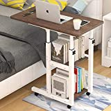 BBZZ Mesa auxiliar estrecha con marco de hierro con tablero de densidad blanca, altura ajustable, ruedas con bloqueo, mesa auxiliar plegable para sobrecama, mesa de café, escritorio de ordenador