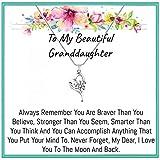 Onepurposegifts Granddaughter gift, Granddaughter Necklace, Granddaughter gifts from grandma, Grandmother Granddaughter jewelry (Heart)