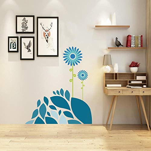 Cooldeer Blue Sun Flower Creatieve Muursticker Persoonlijkheid Woonkamer Raam Slaapkamer Decoratieve Muursticker