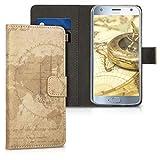 kwmobile Wallet Hülle kompatibel mit Motorola Moto X4 - Hülle mit Ständer Kartenfächer Travel Vintage Braun Hellbraun