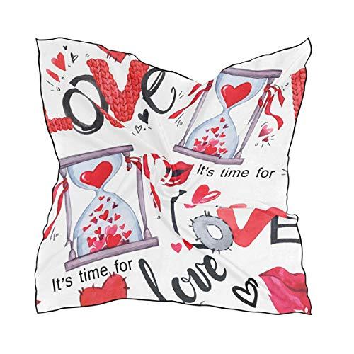 Cuadrado 60 × 60 CM Pañuelo de cabeza Patrón sin costuras Día de San Valentín Palabras de amor Reloj de arena Chal Bufanda Cabeza Envolturas para mujeres Damas Caballo Estampado ligero
