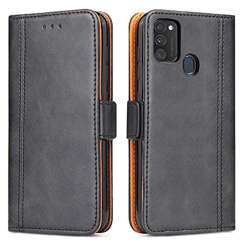 Bozon Handyhülle für Galaxy M21 Hülle, Samsung M30s Lederhülle Schutzhülle Klapphülle Tasche mit Standfunktion & Kartenfächer für Samsung Galaxy M21/ M30s (Schwarz)