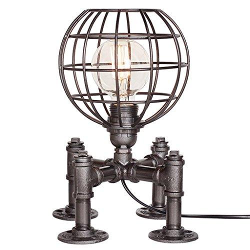 Vast zilver zwart industrieel water pijp ijzer bureau lampen energiebesparende nachtlamp led E27 lezen kunst tafellampen nachtkastje nachtlampje 212
