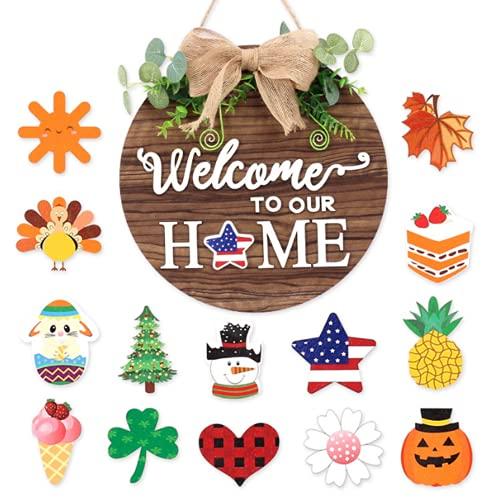 """Binwat - Cartello di benvenuto intercambiabile con scritta in inglese """"Welcome Home"""" e scritta in inglese """"Welcome Home"""" (lingua italiana non garantita)"""