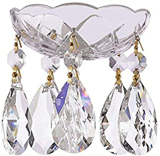 1 Piece - 4-Inch 5 Holes - Clear Asfour Crystal 30% Lead Crystal Chandelier Bobeche with Gold Pin & Teardrop