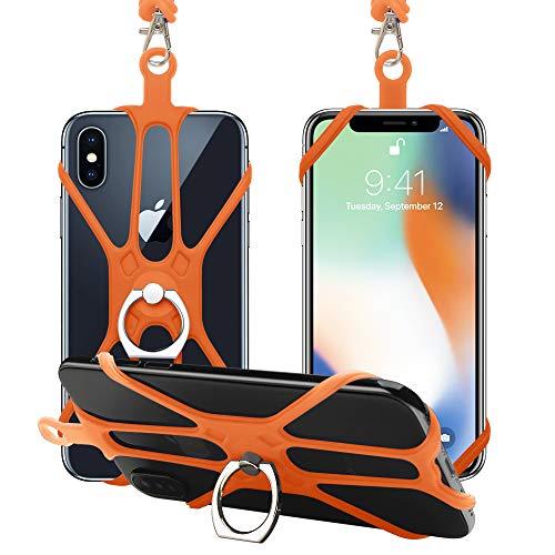 SHANSHUI Handy Silikon Umhängeband Smartphone Halsband Trageband Lanyard mit Finger Ring Ständer Fingerhalter kompatibel mit iPhone/Samsung/Huawei Orange