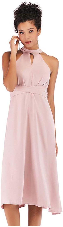 CARRY Dress, European and American Women's Summer Comfortable Soft Round Neck Sleeveless Hanging Dress Dress Strap Waist Zipper Pink Midi Dress (Size   S)