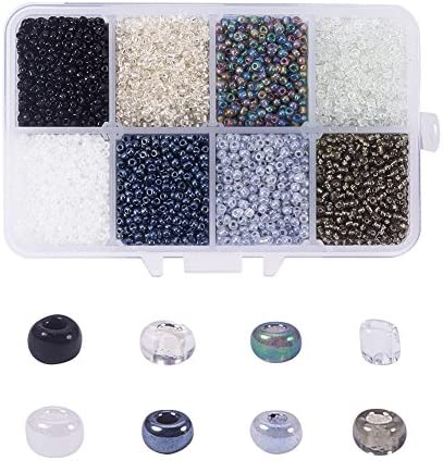 NBEADS 1 Box 8 Color 12 0 Round Glass Seed Beads 2mm Loose Spacer Beads Pony Beads with Hole product image